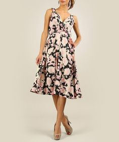 Take a look at this Anmol: Black & Pink Sunflower Dress by Anmol on #zulily today!