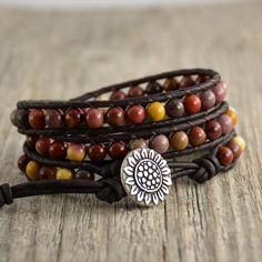 Mookaite beaded bracelet. Multicolor earthy jewelry. Sunflower button wrap bracelet by SinonaDesign on Etsy