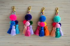 Pom pom keychain Pom pom bag charm Tassel keychain Purse Charm Boho keychain Handbag charm Tassel clip Pompom key chain Neon pink Mint Colorful bag charm / key chain made of hand crafted pom poms and tassels. Available in 4 colors: hot pink, purple, mint Pom Pom Crafts, Yarn Crafts, Diy And Crafts, Arts And Crafts, Pom Pom Diy, Pom Pom Bag Charm, Diy Y Manualidades, Tassel Keychain, Tassel Purse