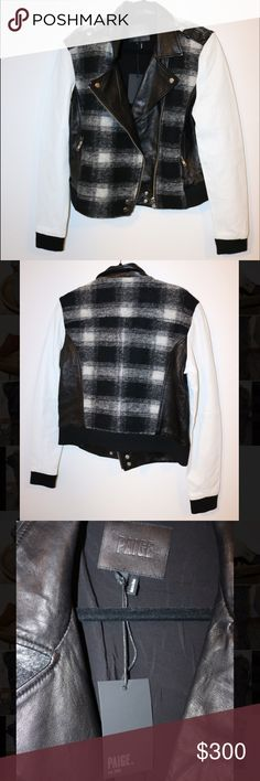 NWT Paige Jeans Black & White Leather Moto Jacket Perfect condition. Never worn outside of the store. Please note photos were taken with a high resolution camera so things that may look like flaws are just lighting and resolution. I disclose all issues within the item description. Paige Jeans Jackets & Coats