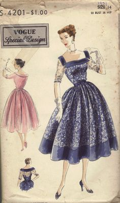 1950s Vogue Special Design Sewing Pattern by AdeleBeeAnnPatterns, $23.50