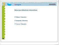 """""""Recursos Didácticos Interactivos Anaya. Lengua Española de 2º de Primaria"""" (Abre la puerta) Anaya, Spanish Language, Teaching Resources, Learning"""