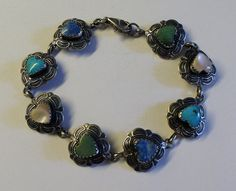 Southwest Sterling Silver Turquoise Agate and Mother of by onetime, $30.00