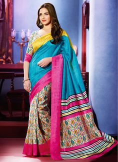 Bollywood Replica Blue & Cream Art Silk Saree!! SHOP THIS TRENDY SAREE FROM HERE. Product Code: 5879 ||2,775/-INR||