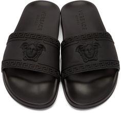 Versace: Black Medusa Slip-On Sandals   SSENSE
