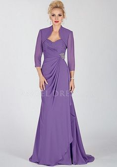 A line Sweetheart Chiffon Sleeve Floor Length Mother of the Bride Dress     1