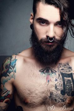 asifthisisme: KillerTattoo Project Photo: Dam White Make Up: Sara.G Model: Edwar Tiger Beards And Mustaches, Moustaches, Brown Beard, Red Beard, Great Beards, Awesome Beards, Boy Tattoos, Body Art Tattoos, Tattoo Art
