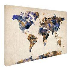 Michael Tompsett 'Watercolor Map 3' Canvas Art - Overstock™ Shopping - Top Rated Trademark Fine Art Canvas