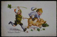 2 Kind(er) rennen m.Schwein,Kleeblatt,Fröh.Neujahr,Ak