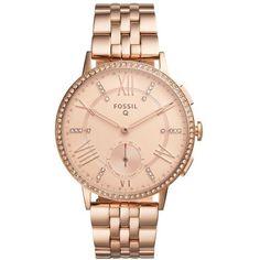 Women's Fossil Q Gazer Hybrid Smart Bracelet Watch, 41Mm ($235) ❤ liked on Polyvore featuring jewelry, watches, rose gold, red gold jewelry, pink gold jewelry, bracelet watch, rose gold jewelry and rose gold watches