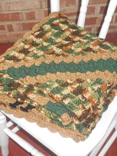 FREE shippingCAMO throwlarge crochet by QuailCreekCreations