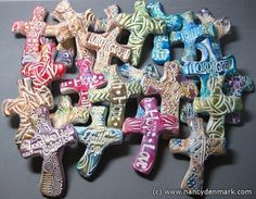 Polymer Clay Hand Crosses For Prayer & Comfort