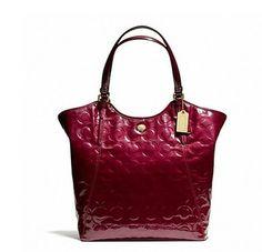 Coach Peyton Op Art Embossed Berry Patent Travel RED MERLOT Tote Bag $207