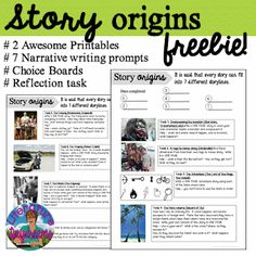 Blog post with an awesome FREE download. Story origins. Great for creative writing lessons.