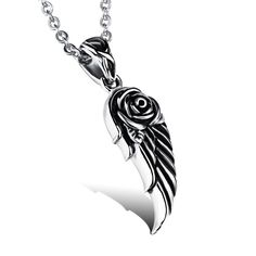 ANGEL ROSE Stainless Steel Pendant Necklace