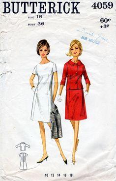 1960s A-Line Dress & Jacket Pattern Butterick by BessieAndMaive