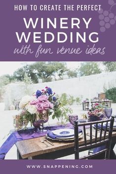 Winery Wedding Venues - The Delicate Details as featured by Snappening Winery Wedding Venues, Lilac, Lavender, Floral Centerpieces, Wooden Tables, Shades Of Purple, Color Palettes, Tablescapes, Wedding Colors