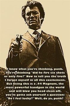 DIRTY HARRY AKA CLINT EASTWOOD photo quote poster DO YOU FEEL LUCKY? 24X36