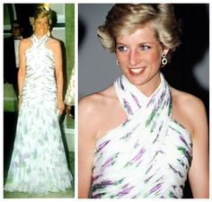 On March 15, 1990 Diana attended a State Banquet in Nigeria held in the state capital of Lagos, by President and Mrs Babangida. Diana looked stunning in a floral silk chiffon evening gown with a fitted bodice, and halter neck, by designer Catherine Walker.  Diana accessorised with white satin evening shoes, and a matching satin evening bag, and wore a pair of amethyst and diamond drop earrings, and a matching amethyst bracelet.