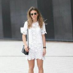 ZARA LACE WHITE DRESS WITH SLIP Brand new with tags, sizes medium and large, comes with slip, true to size. Zara Dresses Midi