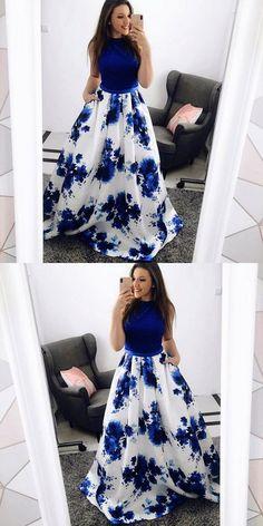 long prom dresses - ALine Jewel Blue Floral Long Prom Dress with Pockets Lace Floral Prom Dresses, Indian Gowns Dresses, Blue Evening Dresses, Trendy Dresses, Homecoming Dresses, Cute Dresses, Beautiful Dresses, Fashion Dresses, Spring Formal Dresses