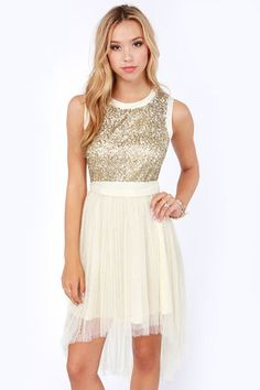 75d4edda43 The Darling Mandy Cream and Gold Sequin Dress is as sweet as candy! Antique  gold sequins and layers of creamy gauze adorn this high-low party dress.