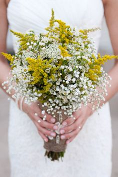 Rustic Bridal Bouquet Comprised Of: Yellow Solidago (Goldenrod), White Waxflower & White Gypsophila (Baby's Breath) Hand Tied With A Burlap Ribbon Yellow Wildflowers, Yellow Wedding Flowers, Floral Wedding, Yellow Flowers, Purple Wedding, Gold Wedding, White Wax Flower, Wax Flowers, Rustic Bridal Bouquets