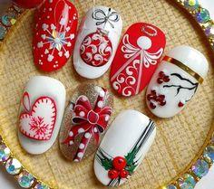 Nail Art Noel, Xmas Nail Art, Cute Christmas Nails, Xmas Nails, Christmas Nail Art Designs, Glitter Nail Art, Holiday Nails, Cute Nails, Pretty Nails