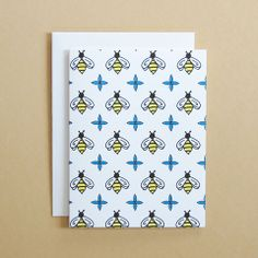 Bee Pattern Card by Happy Cactus Designs - Sold as a Single Card or Boxed Set of 10