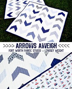 Arrows Aweigh Boy Quilt - Best Quilts to Make This Weekend - Free Quilt Patterns and Quilting Tutorials - Quilting for Beginners to Seasoned. Quilt Baby, Diy Baby Quilting, Baby Boy Quilt Patterns, Jelly Roll Quilt Patterns, Beginner Quilt Patterns, Quilting For Beginners, Quilt Patterns Free, Quilt Tutorials, Sewing Patterns