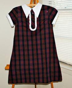 Sixties Vintage School Uniform Type of Plaid Frock Tunic Dress. $16.00, via Etsy.