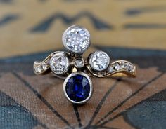 Art Deco Diamond Sapphire Engagement by EngagedWithDiamonds