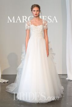 Marchesa Wedding Dress - Spring 2015 Collection. Modest short sleeve lace ball  gown Marchesa Bridal e48e3d9ea99b