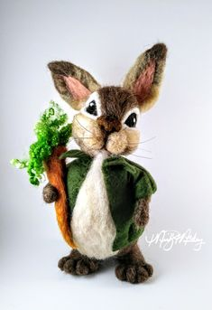 Needle felted bunny great for gift for bunny collector or Easter decor #needle felted bunny #bunny #bunny gift