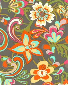 Cabana Blooms - Floral Groove - Large scale flowers with a groovy sixties styling bloom over a solid ground in this island flavored floral. A contemporary color palette keeps this retro design completely up to date.