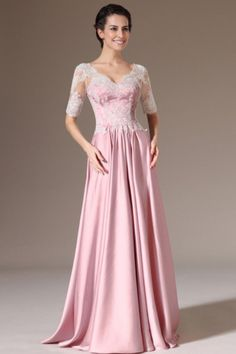 V Neck A-line Lace Floor Length Prom Dress