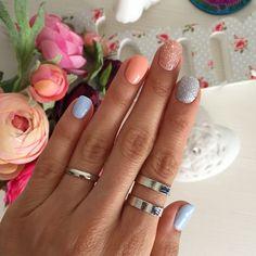 Baby blue & salmon run nails by @nailart357   Sandra Bendre