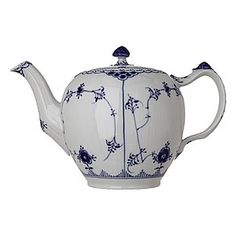 Blue fluted half lace teapot by olive