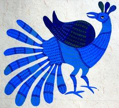 Gond paintings are paintings done by & tribe& from Madhyapradesh. They use dots and small lines to fill the space. As they live in jungles the subjects of painting are Animals, trees, their gods etcs. They use colours prpared from vegetables& Peacock Embroidery Designs, Animal Line Drawings, Gond Painting, Tribal Community, Indian Folk Art, Indigenous Art, Indian Paintings, Mail Art, Tribal Art