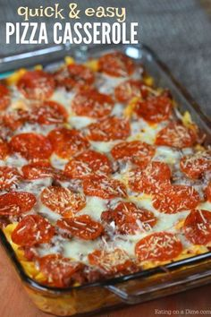 This easy pizza casserole recipe is a family pleaser! An Easy casserole recipe. Plus this pizza pasta casserole is an easy freezer meal. Try it today! #eatingonadime #pizzacasserole #easy #recipe #casserole #familyrecipes