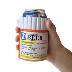 The Prescription Bottle Beer Holder joins a long and proud line of novelty gag gifts with questionable taste. It dresses up a beer can in prescription clothes. Prescription Bottles, Pill Bottles, Funny Gifts For Men, Guy Gifts, Joke Gifts, Nurse Gifts, Teen Gifts, Beer Cooler, Funny Gags