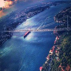 Magnificent aerial view of Bosphorus #bosphorus #aerial #cityscape #landscape #blue #ship #bridge #blue #cloudporn #cloud #istanbul #city #bigcity #travel #turkey #turkeyphotooftheday #turkeystagram #allshotsturkey #turkey