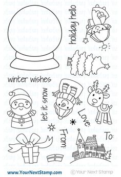 Holiday Snow Globe - re-released as a High Quality Photopolymer Clear Stamp Set Christmas Snow Globes, Christmas Makes, Noel Christmas, Christmas Crafts, Christmas Doodles, Christmas Drawing, Globe Drawing, Globe Tattoos, Snow Globe Crafts