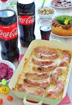 Biała kiełbasa zapiekana w sosie chrzanowym Pork Recipes, Cooking Recipes, My Favorite Food, Favorite Recipes, Queens Food, Special Recipes, Appetizer Recipes, Food To Make, Energy Bites