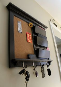 New Item! Framed Home Decor Furniture Triple Mail Organizer Storage and Shelf with Bulletin Board Cork, Chalkboard, or Dry Erase and Keyhook...