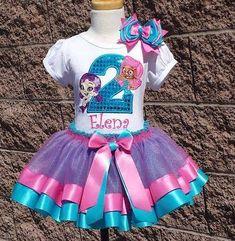 *Girls Bubble Guppies Molly and Oona Satin Ribbon Lace Quick Ship Tutu Set