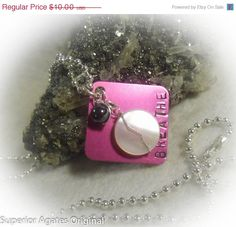 On Sale Pink Breathe Hand Stamped Square Wire by superioragates