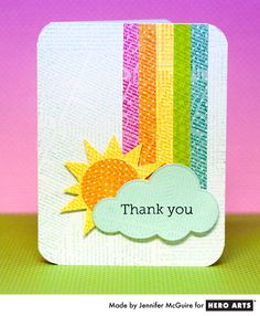 Rainbow Card by Jennifer McGuire Scrapbooking, Scrapbook Cards, Washi Tape Cards, Rainbow Card, Get Well Cards, Creative Cards, Kids Cards, Cute Cards, Homemade Cards