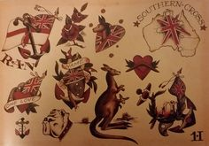 Traditional/old school tattoo, sailor jerry, Australia, kangaroo, colonial, southern cross