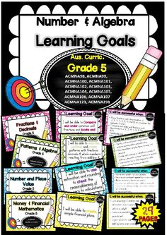 This packet has all the posters you will need to display the learning goals for grade 5 Australian Curriculum Maths – Number and Algebra. All content descriptors have been reworded into smart goals with an accompanying poster showing the success criteria School Resources, Math Activities, Teaching Resources, Math Teacher, Teaching Math, Factors And Multiples, Classroom Organisation, Classroom Ideas, Multiplication Strategies